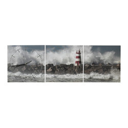 Elements - Elements 35.5x12-inch Ocean Wall Canvas Clock - Bring the serenity of the beach into your home with this unique panoramic wall clock. This clock includes three separate canvas panels that showcase the majesty of a lighthouse along with beautiful ocean waves.