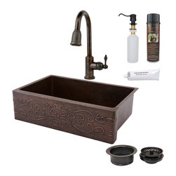 "Premier Copper Products - 33"" Kitchen Apron Scroll Sink w/ ORB Faucet - PACKAGE INCLUDES:"