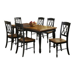 Home Styles - Home Styles Monarch 7 Piece Dining Set in Black and Oak Finish - Home Styles - Dining Sets - 5008309 - The Monarch Rectangular Dining Table and Six Double X-back Chairs by Home Styles blends upscale design with functionality.