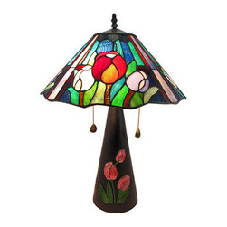 Limited Edition Stained Glass Oriental Tulip Table Lamp 23 Inch Tall - This beautiful leaded stained glass table lamp adds a colorful accent to any room in your home. Measuring 23 inches tall, 15 inches in diameter, the lamp features a heavy, conical cold cast resin base with hand-painted tulip accents. The gorgeous tulip themed shade made out of over 100 pieces of yellow, blue, green and purple stained glass. The lamp uses two 75 watt (max) type A bulbs (not included), and has a brown 6 foot long power cord. Included is a certificate of limited edition, indicating that this piece is limited in production to only 650 pieces, and the design is by artist J.J. Peng. This lamp is sure to be admired and makes a great gift.