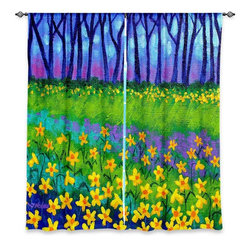 "DiaNoche Designs - Window Curtains Unlined - John Nolan Spring Daffs II - DiaNoche Designs works with artists from around the world to print their stunning works to many unique home decor items.  Purchasing window curtains just got easier and better! Create a designer look to any of your living spaces with our decorative and unique ""Unlined Window Curtains."" Perfect for the living room, dining room or bedroom, these artistic curtains are an easy and inexpensive way to add color and style when decorating your home.  The art is printed to a polyester fabric that softly filters outside light and creates a privacy barrier.  Watch the art brighten in the sunlight!  Each package includes two easy-to-hang, 3 inch diameter pole-pocket curtain panels.  The width listed is the total measurement of the two panels.  Curtain rod sold separately. Easy care, machine wash cold, tumble dry low, iron low if needed.  Printed in the USA."