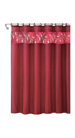 """HLC.ME - HLC.ME 15 PC Embassy Embroidery Bathroom Set, Burgundy - Decorate your bathroom with ease! From HLC.ME, this set includes everything you need to take your drab bathroom and make it chic. The shower curtains, bath mat and contour mat all feature an embroidery pattern imbued with lively color. Size: Shower Curtain - 70"""" inch Wide x 72"""" inch Length; Bath Rug - 18"""" inch Wide x 29.5"""" inch Length; Contour Rug -18"""" inch Wide x 18"""" inch Length"""