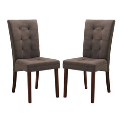 Baxton Studio - Brown Fabric Modern Dining Chair (Set of 2) - Though decidedly designed for an informal dining room furniture