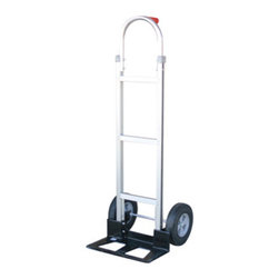 "MONSTER TRUCKS - MONSTER TRUCKS MT10007 Tuff Maxx(TM) Aluminum Cart - � High-strength aluminum construction ;� Lightweight alternative to heavier steel hand trucks;� Long-lasting 10"" solid rubber tires;�Stick handle;� Nose plate: 18"" x 7.5"";� Weight: 29lbs;� Dim: 52""H x 20""W x 21""D;� Load capacity: 660lbs"