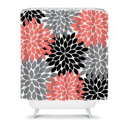 Shower Curtain Flower Black Coral Gray 71x74 Bathroom Decor Made in the USA - DETAILS: