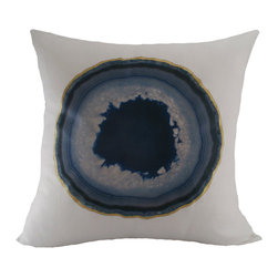 Sarah Smile - Blue Agate White Linen Pillow - Instead of putting agate on the table, why not put it on the couch? This whimsical pillow features an image of blue agate with a hand-painted gold rim. A great gift for lovers of geology and unique decor alike, this pillow features a hidden zipper and serged edges.