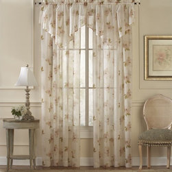 CHF Industries - CHF Water Lilly Scroll Curtain Panel Pair with Optional Valance - CHFI172 - Shop for Curtains and Drapes from Hayneedle.com! The delicate floral pattern and sheer design of the CHF Water Lilly Scroll Curtain Panel Pair with Optional Valance provide an elegant look to any room. This set perfectly diffuses the light and is made with a soft poly fabric. All pieces are machine-washable for easy care and a snap to hang with rod pockets. Use the available configuration options to get the look you're going for. About CHF IndustriesCHF Industries based in New York is known for its home textile products and is the largest private-label supplier of retail-specific bedding products. CHF offers a diverse range of window products like panels valances shades kitchen tiers and even window hardware. CHF innovates with fashionable solutions such as energy-efficient interlined window panels taking steps to introduce organic products to protect the environment.
