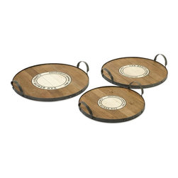 IMAX Worldwide Home - Benito Wood and Metal Trays - Set of 3 - Set of 3. Material: 50% Recycled Wood, 50% Wire. 3.5 in. H x 16.25-18.25-20.50 in. D. Weight: 30.8 lbs.This set of three Benito trays feature the Wine Growers Association emblem of San Benito county are made from recycled wood  come in a set of three sizes. This is a beautiful versatile set of trays that work for a variety of uses.