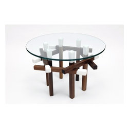 """ARTLESS - Matchstick End Table - Features: -Made in USA.-Matchstick collection.-Collection: Matchstick.-Top Finish: Glass.-Base Finish: Tied To Finish.-Distressed: No.-Powder Coated Finish: No.-Gloss Finish: No.-Base Material (Finish: Red Dipped Maple): Solid oak.-Top Material: Glass.-Solid Wood Construction: Yes.-Number of Items Included: 2: Base and glass table.-Nesting Tables: No.-Non-Toxic: No.-UV Resistant: No.-Scratch Resistant: No.-Stain Resistant: No.-Lift Top: No.-Storage Under Table Top: No.-Drop Leaf Top: No.-Magazine Rack: No.-Built In Clock: No.-Drawers Included: No.-Exterior Shelves: No.-Cabinets Included: No.-Glass Component: Yes -Tempered Glass: Yes.-Beveled Glass: No.-Frosted Glass: No..-Legs Included: Yes -Number of Legs: 6.-Leg Type: Straight..-Casters: No.-Lighted: No.-Stackable: No.-Reclaimed Wood: No.-Adjustable Height: No.-Outdoor Use: No.-Weight Capacity: 100 lbs.-Swatch Available: No.-Commercial Use: Yes.-Recycled Content: No.-Eco-Friendly: Yes.-Product Care: Wipe clean with a dry cloth.-Country of Manufacture: United States.-Built In Outlets: No.-Powered: No.Specifications: -FSC Certified: No.-EPP Compliant: No.-CARB Compliant: No.-ISTA 3A Certified: No.-ISTA 1A Certified: No.-General Conformity Certificate: No.-Green Guard Certified: No.-ISO 9000 Certified: No.-ISO 14000 Certified: No.Dimensions: -Overall Height - Top to Bottom: 14.5"""".-Overall Width - Side to Side: 22"""".-Overall Depth - Front to Back: 22"""".-Table Top Thickness: 0.4"""".-Table Top Width - Side to Side: 22"""".-Overall Product Weight: 25 lbs.-Legs: -Leg Height - Top to Bottom: 14"""".-Leg Width - Side to Side: 1""""..-Table Top Depth - Front to Back: 22"""".Assembly: -Assembly Required: No.-Additional Parts Required: No.Warranty: -Product Warranty: Lifetime."""