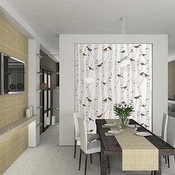 Casart coverings - Birds & Birch - Dining Room Focal Wall - This neutral wallpaper design is dramatic in any setting. It can be removed whenever you want or seasonally and even reused without any wallpaper paste or mess. The birds and colors can also be customized.