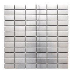 Eden Mosaic Tile - Grid Bricks Pattern Stainless Steel Mosaic Tile, Sample - Bricks are almost always found in a staggered pattern; defy convention with this modern brick mosaic tile in a grid array. This tile is ideal for stainless steel kitchen backsplashes, accent walls, bathroom walls, and bathroom back splashes. The tiles in this sheet are mounted on a nylon mesh which allows for an easy installation. Imported.