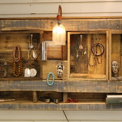Classic Lighted Jewelry Display/Organizer - Lighted Jewelry Display/Organizer. Wall-hanging unit made from recycled barn wood and pallet wood.