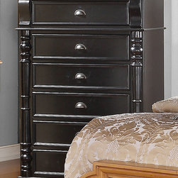 "Coaster - Oleta Chest - Create a beautiful focal point for your master bedroom with the stunning Oleta bedroom collection. The arched shutter headboard with simple molding and low-profile footboard adds to the classic country cottage style. Matching pieces come in a rich black finish with attractive oak tops. Enjoy a calm and tranquil setting while you relax in bed with a morning cup of coffee with help from the Oleta collection. Collection: Oleta; Style: Country; Finish/Color: Black/Oak Finish; Felt lined top drawer; Dove tail drawers; Full extension glides; Dimensions: 38.00""L x 18.75""W x 55.25""H"