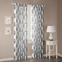 """Madison Park - Madison Park Addison Anthro Burn Out Sheer Curtain - Traditional damask design is created by using special """"burnout"""" process to create the sheer medallion motif floating on a lightweight semi sheer linen ground. Creamy ivory linen ground color with the color accented in the burn out medallion gives a subtle touch of color to the room. Panels can be hung two ways either with the 3"""" rod pocket or with the hidden 3"""" wide back tabs. Both can accommodate either a standard or decorative drapery rod. Single, wide with panel measures an ample 52"""" wide. poly,rayon Unlined,Back Tab"""