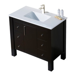 Inolav - Parsons 37 Quartz Top Vanity, Chestnut, Beige Sink, Beige Quartz Countertop - The Parsons collection has a versatile style that fits into both transitional and contemporary settings. The beauty of this vanity lies in its simplicity, with straight lines and right angles. It is ideal for homeowners who want a clean and understated look. The storage space is maximized with the use of an internal wooden shelf.