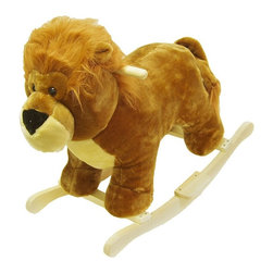 "Happy Trails - Handcrafted Plush Lion Rocking Animal with Wo - Recommended for ages 2 yrs. old & up. Recommended Weight Limit: 80 lbs.. Soft and plush to the touch. Hand crafted with a hard wood core and stands on sturdy wood rockers. 25.50 in. L x 14.50 in. W x 20 in. H (13 lbs.). Seat Height: 18 in.This cuddly creature is a wonderful toy and a beautiful piece of furniture. Your child will love riding this ""King Of The Jungle"" with its fabulous life-like appearance. It is soft and plush to the touch from mane to tail. This animal will make a bold addition to any child's room."