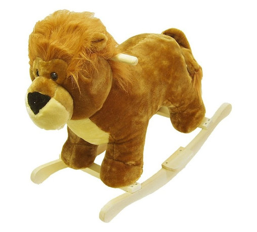 """Happy Trails - Handcrafted Plush Lion Rocking Animal with Wo - Recommended for ages 2 yrs. old & up. Recommended Weight Limit: 80 lbs.. Soft and plush to the touch. Hand crafted with a hard wood core and stands on sturdy wood rockers. 25.50 in. L x 14.50 in. W x 20 in. H (13 lbs.). Seat Height: 18 in.This cuddly creature is a wonderful toy and a beautiful piece of furniture. Your child will love riding this """"King Of The Jungle"""" with its fabulous life-like appearance. It is soft and plush to the touch from mane to tail. This animal will make a bold addition to any child's room."""