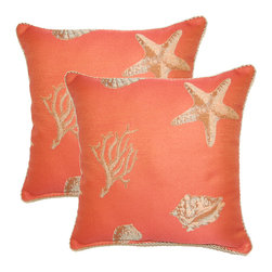Nassau Coral 17-inch Throw Pillows (Set of 2) -