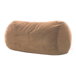 OneUp Innovations, Inc - Jaxx Grand Lounger (7.5 Ft) Foam Beanbag, Microsuede Camel - Kick back & relax in the Jaxx Grand Lounger. This modern, foam filled beanbag adds casual, comfortable seating to your decor. The multifunctional shape can be used as a chair, a lounger or a Sofa replacement. Not surprisingly, it also works wonderfully as a bed for dorm rooms and spare rooms. Finally, your spare room can be used year around as a game room, play room and more. The shredded high-density foam filling provides cushiony support in any position. The Jaxx Grand Lounger molds to your every move, whether you are watching TV, browsing the internet or reading your favorite book. Seats up to three adults comfortably, adding a fouth is a bit cozy. Available in several designer fabrics and colors to blend in both modern and casual settings. Great for apartments, lofts and dorms! Approximately 7.5 ft x 3 ft x 3ft in size. Weighs up to 90 pounds. Made with 100% recycled/shredded furniture grade urethane foam filling. Covers zip-off for machine washing. Shipped compressed under vacuum to save on freight. Some assembly required. Please follow included instructions or view the assembly video online. All of the fabrics used for Jaxx products are designed to hold up to normal wear and tear for furniture. Microsuede is a durable, entry level fabric. It is lightweight, has virtually no fiber depth, and feels smooth to the touch. Microsuede is machine washable (tumble dry low). Velvish is our mid-range fabric. The Velvish is a denser, higher fiber compared to Microsuede. This results in a noticably softer feel. Pebble is our premium fabric featuring a more dense and slightly higher fiber than Microsuede, but not as high as Velvish. What sets the Pebble fabric apart from the others is the miniature cobblestone patterned texture cut into the fabric which adds visual flare to the fabric. All three fabrics are machin washable on cold setting and can be tumbled dried on low heat.