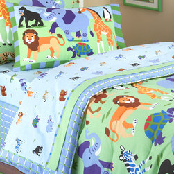 Olive Kids - Olive Kids Wild Animals 180TC Sheet Set - Wild Animals sheet set features colorful graphics of wild animals, including lions, elephants, bears, and giraffes against a light blue ground. Made of 100% cotton, it is machine washable for easy care. 100% Cotton,180T