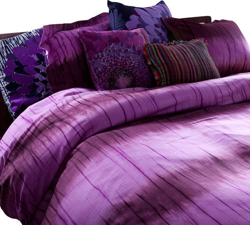 koi Design - Duvet Set - Merlot Stripe Dye - Dyed in shades of dreamy violet with a subtle, organic-looking stripe pattern, this duvet manages to look soft and natural, yet dramatic, like a wildflower. It's made from luxurious 300-count cotton sateen to make you feel like a queen, and comes with two matching shams.