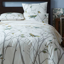Organic Sparrow Song Duvet Cover - A naturalistic bird illustration brings spirit and life to this duvet cover. It would be a pleasure to wake up to this.