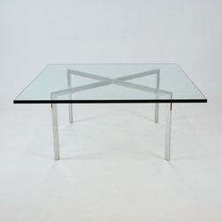 Barcelona table by KNOLL - Design Ludwig Mies van der Rohe 1929 - Dimensions:L 40''  × W 40''  × H 17''