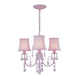 Lite Source - Lite Source LS-19528PINK Sofie 3 Light Chandeliers in Pink With Crystal - 3-Lite Chandelier, Pink W.Crystal/Pink Shade, E12 B 40Wx3
