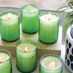 Eco Chic Glass Bottle Candles - Set of 6 - Recycled from green glass bottles, these beautiful candles are a way to enhance your home's decor while caring for the environment at the same time. With a refreshing green hue, each one adds a pop of color that adds depth to any living space.