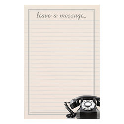 """WallPops - Leave A Message Wall Decal - As the digital age becomes the global norm, iconic items like vintage telephones and typewriters are becoming nostalgic art. This chic vintage phone on an old-fashioned message pad makes a symbolic and stylish space to leave notes! At over 3 feet high, and boasting a dry-erase marker, this dry-erase decal is sure to be a hit. The Dry Erase Leave a Message Board is 26"""" x 39"""" and comes with a dry erase marker."""