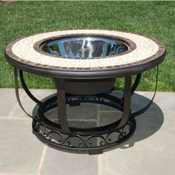Alfresco Home - Umbria 36 in. Mosaic Fire Pit / Beverage Cooler Table - 21-1339 - Shop for Fire Pits and Fireplaces from Hayneedle.com! The Umbria 36 in. Mosaic Fire Pit / Beverage Cooler Table will encourage you to spend time outdoors this year whether you're with family or friends. Expertly crafted from hand forged wrought iron the frame of this fire pit is dipped in a zinc-phosphate bath and E-coated to create a weather-resistant coating. It's finished with a powder coating to provide an extra layer of rust-resistant protection but also creates a stronger richer frame color that lasts for years. With each tile expertly laid by hand to create a unique mosaic table top this fire pit is a beautiful and well-crafted piece. Made from natural sources such as marble slate and travertine each tile varies slightly in color resulting in each fire pit being truly unique. The top is then grouted with industrial adhesives for durability so the natural beauty of this table is maintained. An iron fire bowl spark plate and wood grate are included so you can make warm fires to sit around in the evening while a beverage cooler bowl allows you to turn this fire pit into the perfect coffee table for entertaining during warm days. Or simply place the centerpiece on top and have a simple yet elegant coffee table at your disposal. Enjoy watching the flames dance under a starry sky as the evenings start to get cool or fill the beverage bowl with drinks your friends and family will love and invite them over for an afternoon barbecue. Perfect for fun and casual get-togethers you'll love finding reasons to have your friends and family gather around this fire pit throughout the year. Additional Features Doubles as a fire pit and beverage table Place cover on top to create a regular table Frame is weather and rust resistant Made with rust proof stainless steel hardware Iron has a thickness of 5mm to 6mm Mosaic tiles are hand-set Tiles come from natural sources Sources include marble slate an