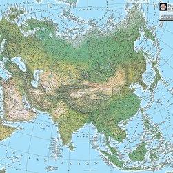 Magic Murals - Map of Asia Wallpaper Wall Mural - Self-Adhesive - Multiple Sizes - Magic Murals - Map of Asia Wall Mural