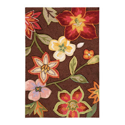 """Nourison - Nourison Fantasy FA18 1'9"""" x 2'9"""" Chocolate Area Rug 10429 - Elegant yet ebullient, a sumptuous bouquet of exotic flowers cascade across a rich chocolate brown background with a symphony of pink, mauve, yellow, white, green, rose and crimson. Sublime hand carving and a meticulous construction of high-density, hand-hooked yarns lend incomparable texture and dimension to this stunning transitional rug."""