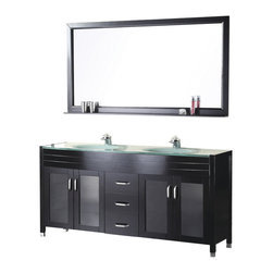 "Design Element - Design Element Waterfall 72"" Modern Double Drop-in Sink Vanity Set - Espresso - The 72"" Waterfall Vanity is elegantly constructed of solid hardwood. The integrated tempered glass counter top and sleek design bring contemporary elegance to any bathroom. The seamless oval drop in sink beautifully showcase the natural aqua counter top. This stylish design includes two double door cabinets and three center drawers all adorned with satin nickel hardware. Included is a large espresso framed mirror with shelf. The Waterfall Collection is a center piece designed to inspire the eye without sacrificing functionality, durability or quality."