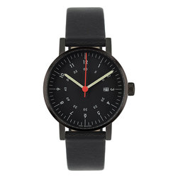 VOID Watches - V03D Watch - Black Face/Black Case/Black Leather Band - VOID Watches - True to form, V03 as the name suggested, is as simple and obvious as VOID's previous ranges, using high quality materials like stainless steel and premium leather with close attention being paid to detailing such as the concentric numbers following the path of time and the discreet branding replacing the normal country of origin markings on the lower part of the dial.