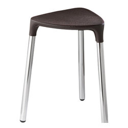 Gedy - Wenge Leather Stool - Stylish, unique stool made of wenge faux leather and steel.