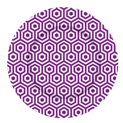 Purple Honeycomb Charger Plates - Set of 12 - Dine in style with our graphically bold charger plates.  Easily update your table with this striking pattern and fresh color.  Our exclusive collection offers a chic and modern interpretation of a classic accessory.