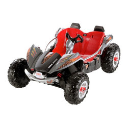 Fisher-Price - Fisher-Price Power Wheels Dune Racer ATV Battery Powered Riding Toy - Gray Multi - Shop for Tricycles and Riding Toys from Hayneedle.com! The Fisher-Price Power Wheels Dune Racer ATV Battery Powered Riding Toy - Gray is made to take your little adventurers across all manner of surfaces so let's hope they limit themselves to grass dirt and driveway and don't try to drive over their sister's dollhouse. We won't tell them if you don't but the rugged tires and Monster Traction system could easily tackle the outdoors and scale Barbie's Malibu Dream house and they'll be safe inside when they're strapped into deep bucket seats. A 12-volt rechargeable battery gives them five mph going forward and 2.5-mph in reverse and the sturdy steel frame with flashy chrome accents keeps them safe and secure in the open cockpit. There's storage area under the hood a working brake and metal support handles for the inevitable bumps. A battery charger is included.About Fisher-PriceAs the most trusted name in quality toys Fisher-Price has been helping to make childhood special for generations of kids. While they're still loved for their classics their employees' talent energy and ideas have helped them keep pace with the interests and needs of today's families. Now they add innovative learning toys toys based on popular preschool characters award-winning baby gear and numerous licensed children's products to the list of Fisher-Price favorites.
