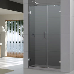 "BathAuthority LLC dba Dreamline - Radiance Frameless Hinged Shower Door, 40"" W x 72"" H, Brushed Nickel - The Radiance shower door shines with a sleek completely frameless glass design. Premium thick tempered glass combined with high quality solid brass hardware deliver the look of custom glass at an incredible value."