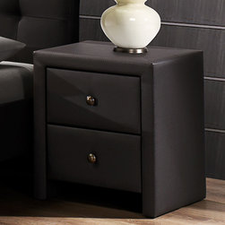 None - Kingston Dark Brown Leatherette Wrapped Nightstand - Complement your bedroom decor with this brown bedroom nightstand.This nightstand features a unique upholstered design with authentic vegan leather. Equipped with two drawers, this stand will provide you with enough room to store your items.
