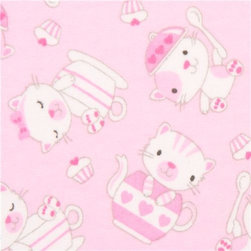 pale pink kitty flannel fabric with  tea service USA - soft fabric by A E Nathan with cats, teapot, cups, cupcakes & tea service