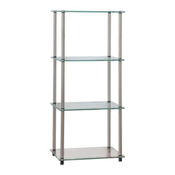 Convenience Concepts - Convenience Concepts 4 Tier Tower X-100751 - Designs2Go&trade: Classic Glass 4-Tier Tower is the perfect complement to any living room d&#233:cor.  Featuring an open modern design that provides 4 spacious glass shelves for decoration, collections or art objects. Surely will provide years of enjoyment