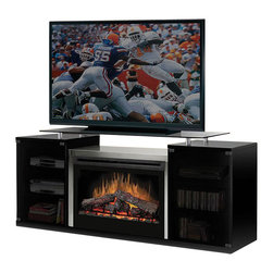 Dimplex - Dimplex Marana TV Stand with Electric Fireplace in Black-Logs - Dimplex - Fireplaces - SAP500B - The Marana Black Flat Panel/LCD/Plasma TV Entertainment Center with Electric Fireplace Heater expresses a contemporary flair that perfectly complements today's hi-tech home theater components. A harmonious blend of glass metal and wood provide the ingredients to this practical and graceful design.