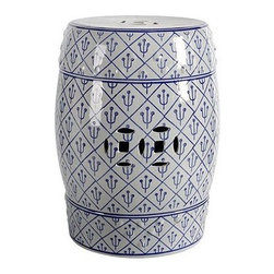 Porcelain Garden Stool, Blue On Light Gray - This stool has a Mediterranean take on the blue and white color scheme.