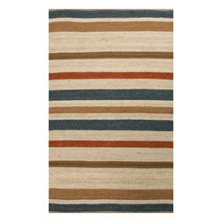 Jaipur Rugs - Naturals Textured Hemp Ivory/Blue Area Rug (5 x 8) - Natural hemp rugs and constructed to last. Striped colors add interest to any room.