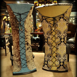 Corset bar stool, bistro chair, bistro table and Snooty Cowgirl Furniture -