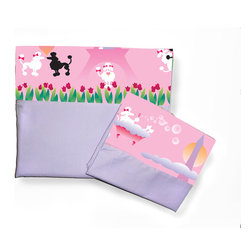 Room Magic - Poodles in Paris Full Sheets/Pillowcase Set - Our Poodles in Paris Full sheets set has a solid fitted sheet and a solid top sheet and pillowcase trimmed with a designer print border with black and white poodles dancing the tango, sipping cafe, rubbing noses, and strolling through the tulips on the streets of Paris.  Available in Full size in the finest 100% Cotton poplin.
