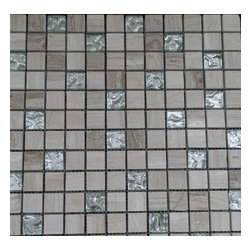 GL Stone - Wooden Grey Square Pattern with Silver Background Glass Mosaic Tile - 2 in. x 2 in. Square Pattern Wooden Grey Polished marble & Silver Background Glass Mosaic Tiles is a great way to enhance your interior decor. This Mosaic Tile is constructed from durable, impervious Marble & Glass material and is suitable for installation on floors, walls in commercial and residential spaces such as bathrooms, kitchen backsplash and shower wall.