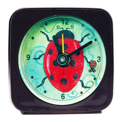 Ladybug Alarm Clock - Our alarm clocks can't help but make you smile. Made from an original painting by artist Pamela Corwin, each clock is 2.25'' square with a round face. On our Ladybuy Alarm Clock, a little ladybug floats magically around as it counts the seconds. Each alarm clock comes in a gift box and includes a free battery. Made in the USA. (Be sure to look for our ladybug wall clock, nightlight and magnets, too!)