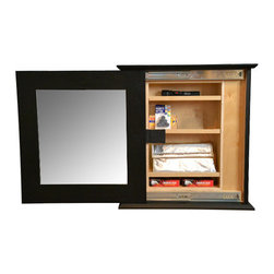 Stealth Furniture, Inc. - Secret Compartment Mirror (slim) Type 2, Brown Stain, Wireless Lock - Lightly stained red oak with a wireless lock and programmable key pad.